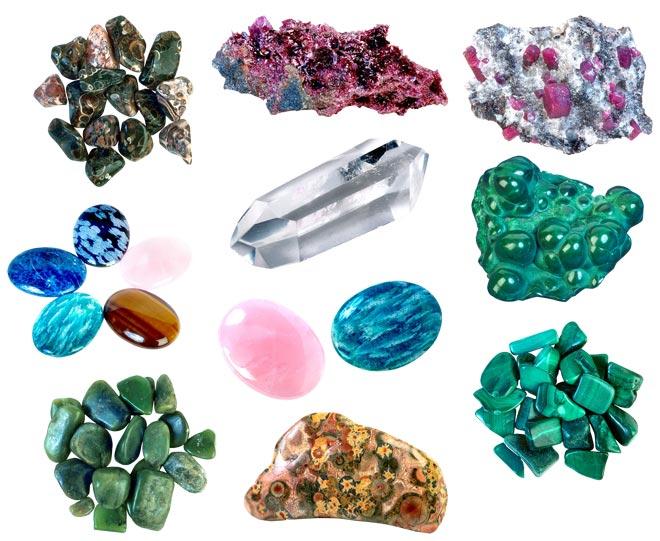 Камни различных цветов и окрасок