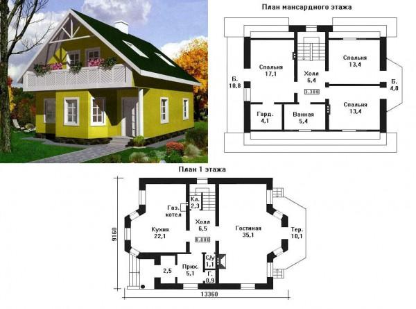 двухэтажный дом из пеноблоков с планом
