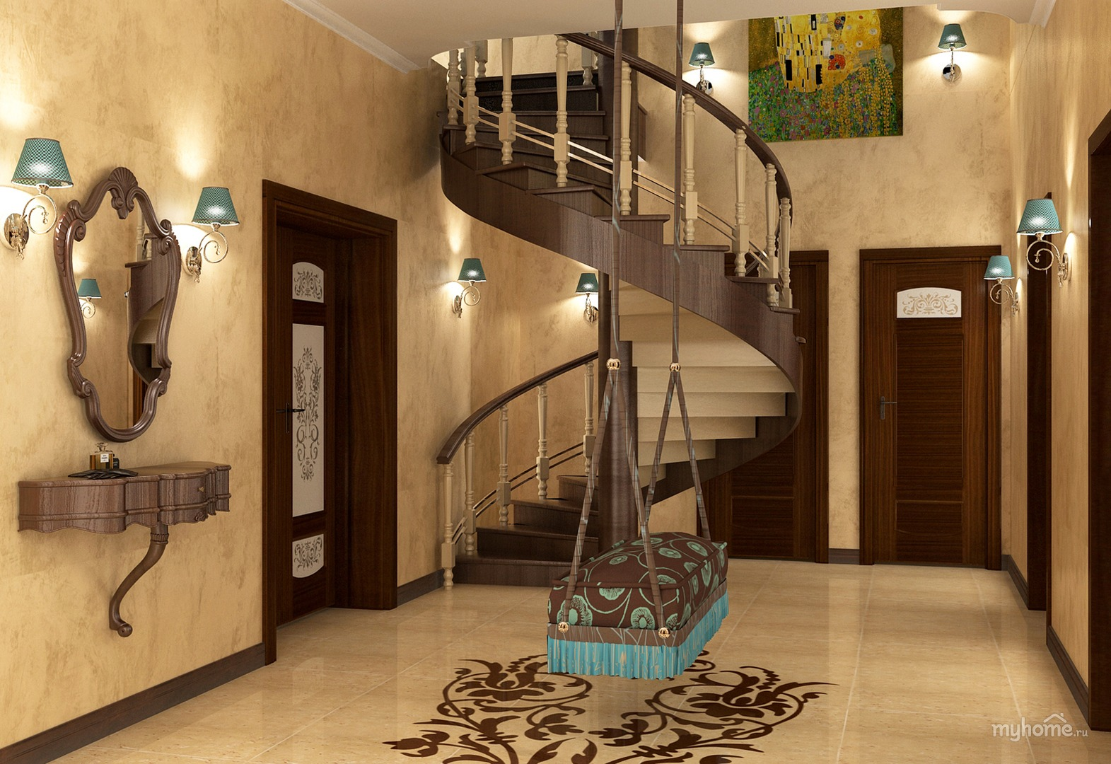 A small hall with a staircase to the nd floor corridor with